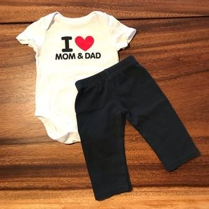 """I love mom and dad"" onesie and pant set"